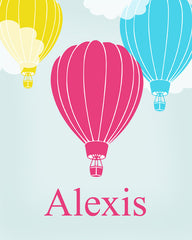 Hot Air Balloon Nursery Art, Personalized