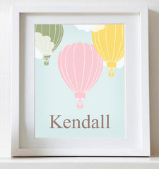 Personalized Hot Air Balloon, Nursery Art