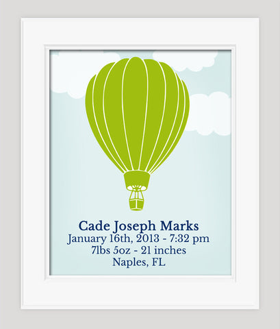 Baby Birth Stats Nursery Art, Hot Air Balloon