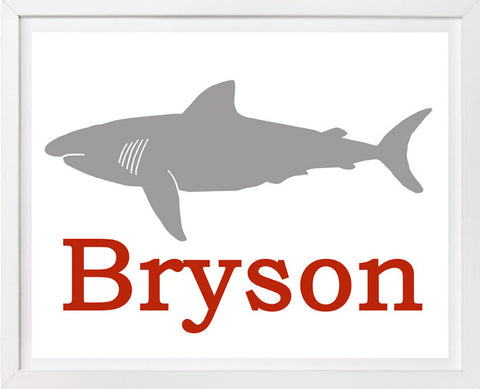 Shark, Personalized Childrens Nursery Art