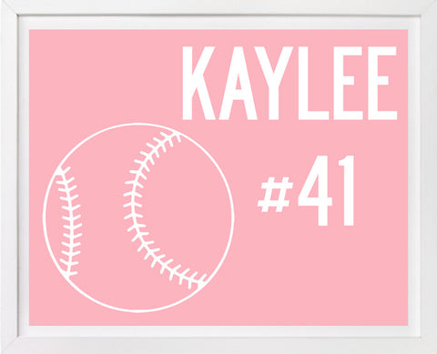Personalized Childrens Softball Art
