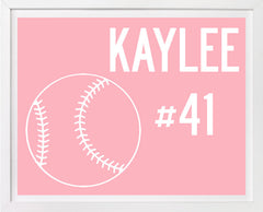 Childrens Softball Art, Personalized, Sports Art