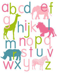 Jungle Alphabet Poster, Animal Nursery Art