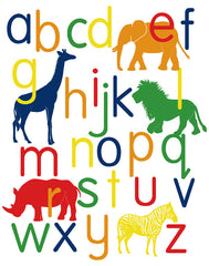 Alphabet Poster, jungle animals