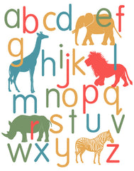 Nursery art, alphabet poster, jungle animals