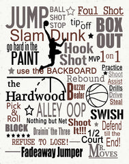 Basketball subway art, Sports print, typography