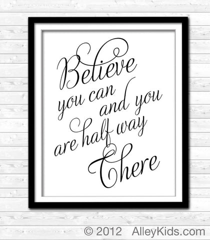 Believe You Can, Typography Art Print