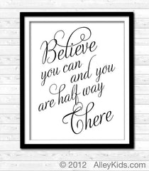 Believe You Can art print, typography wall art