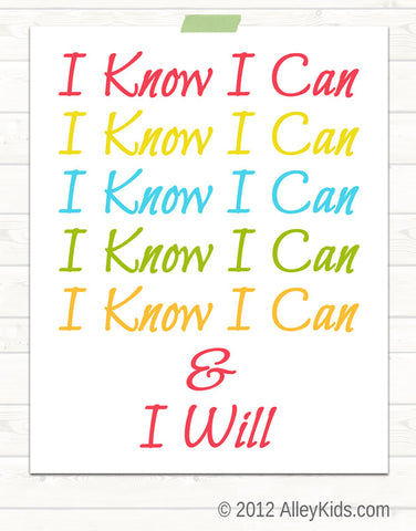 Childrens Nursery Art I Know I Can typography print