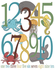 Ocean Theme Number Poster, Sea Life