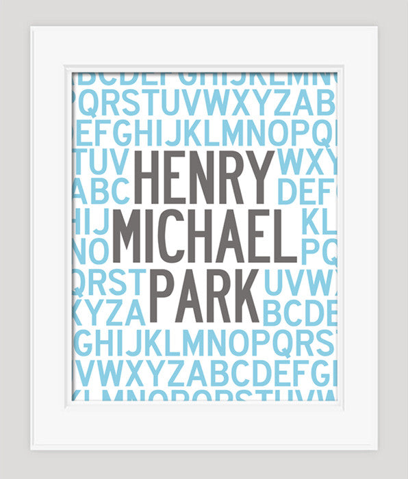 Alphabet Poster, Personalized with Name, Nursery Art