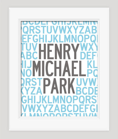 Personalized Alphabet Poster, ABC Nursery Art