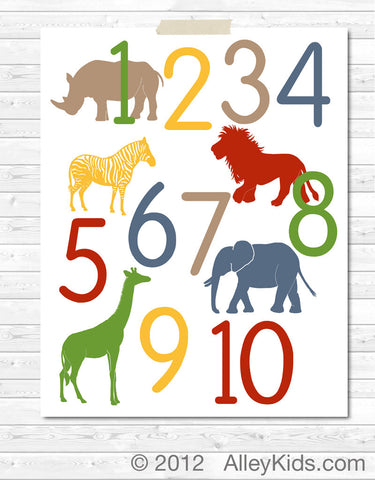 Jungle Animal Number Poster
