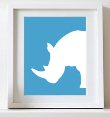 Rhino nursery art, Rhinoceros, Jungle nursery art