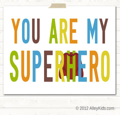 Superhero nursery art, Typography print