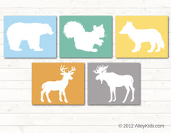 Woodland nursery art, Deer, Moose, Fox, Bear, Squirrel