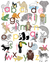 Alphabet Poster with Animals, Lower Case