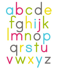 Alphabet Poster Turquoise Raspberry Yellow