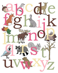 Alphabet Poster, woodland animals
