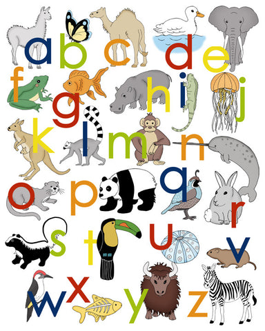 Animal Alphabet Poster - Lower Case