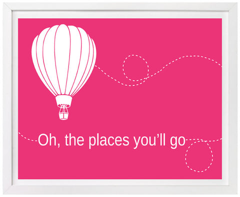 Oh the Places You'll Go, Hot Air Balloon Nursery Art