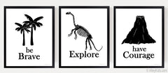 Be Brave, Courage, Explore  Kids Dinosaur Art