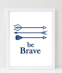 Be Brave Childrens nursery art, arrows in navy