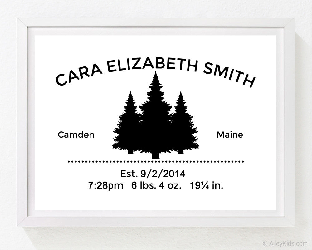 Baby Birth Announcement Print with Pine Trees