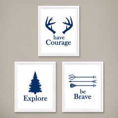 be brave nursery art in navy