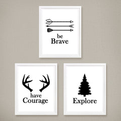 be brave, explore, have courage print set