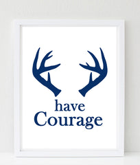 Courage nursery art, antlers in navy
