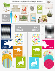 Dinosaur Nursery Design Board, Inspiration Board