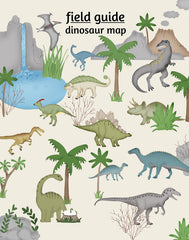 Dinosaur nursery art, Field Guide Map Poster