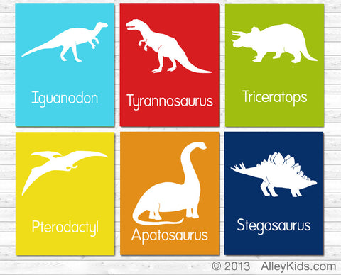 Dinosaur Nursery Art, Set of 6