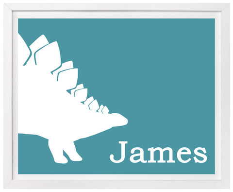 Stegosaurus Nursery Art, Personalized Print