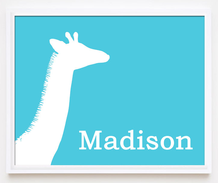 Giraffe nursery art, personalized print