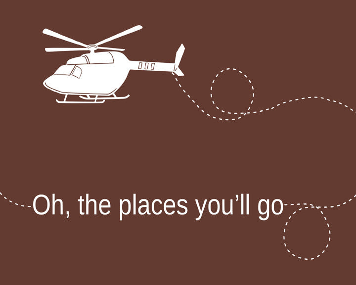 Oh the Places You'll Go, Nursery Art, Helicopter Art