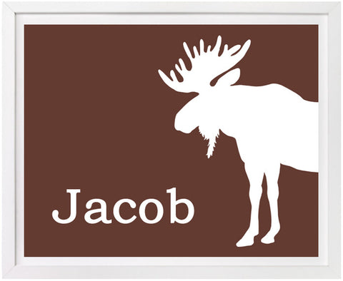 Moose Nursery Art, Personalized Print