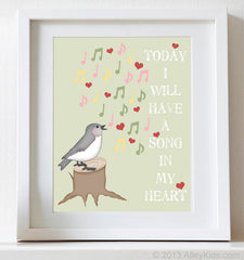 Nursery art, Bird Print, Song in my Heart
