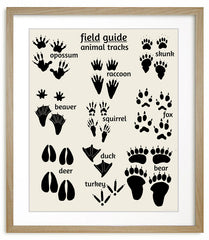 nursery art, woodland animal tracks