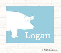 Pig Nursery Art, Personalized, Farm Animal Nursery