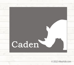 Jungle nursery decor, rhino print, personalized