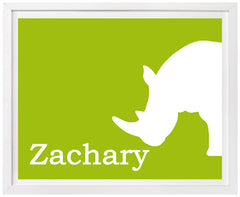 Rhino Nursery Art, Personalized Print