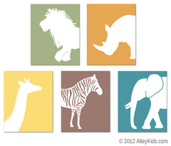 Safari Animals Nursery Art