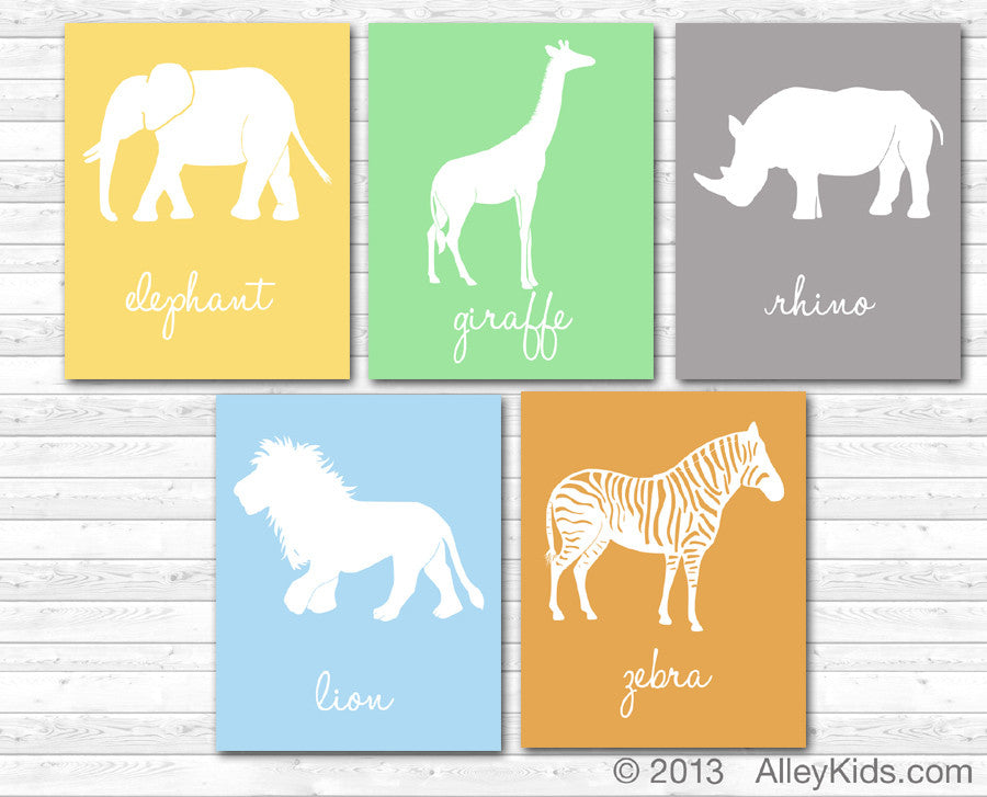 Safari animal nursery art