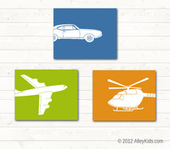 Transportation Nursery Art, Car, Helicopter, Airplane