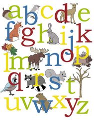 Woodland Alphabet Poster, Animal Alphabet