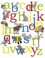 Woodland Alphabet Poster, nursery art