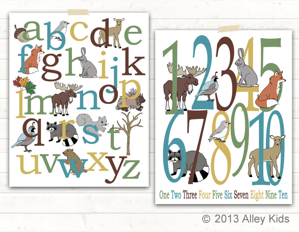 Woodland alphabet and number poster set