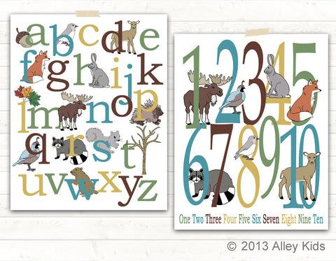 Woodland Alphabet & Number Poster Set